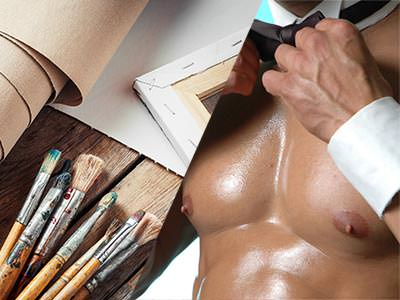 A split image of some artistic equipment and a butler in the buff