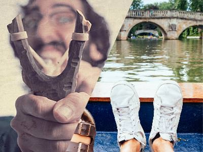 Split image of a man aiming with a catapult, and feet on a boat in a river