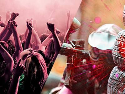 A split image of people partying in a club under pink lights and a person firing a paintball gun whilst hiding behind some obstacles