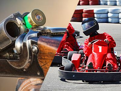 A split image of a gun being loaded and of a man driving around a track in a go kart
