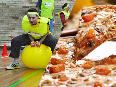 A split image of a man on a spacehopper in an old school gym, and a pizza slice being lifted from a pizza