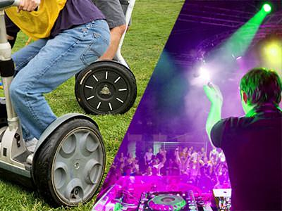 Split image of two people dricing segways, and a DJ clapping to a packed crowd in a club