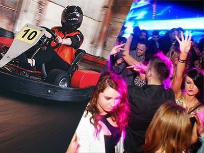 Split image of a man driving a go kart on an indoor track, and people dancing in a club