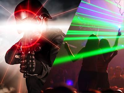 Split image of a man aiming with a red laser beam from a laser gun, and people dancing in a club to a backdrop of green strobe lights