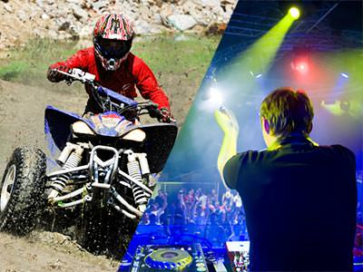Split image of a man driving a quad bike, and a DJ clapping to a packed crowd in a club