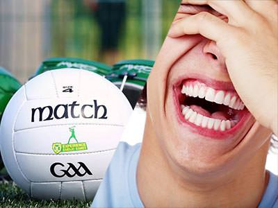 Split image of a man laughing and a gaelic football