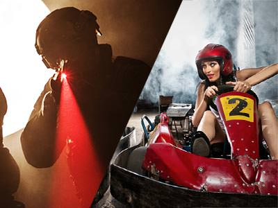 A split image of a man holding a laser beam to the camera and a woman driving a go kart