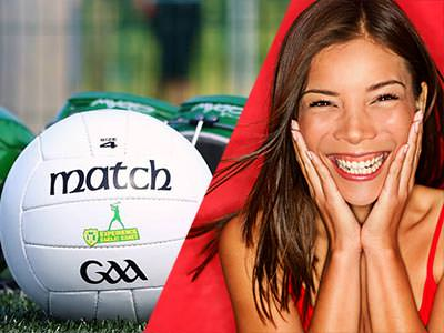 A split image of a football and a woman smiling with her hands to her faceA split image of a football and a woman smiling with her hands to her face