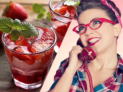 A split image of two cocktails with strawberries in and a vintage looking woman on the phone