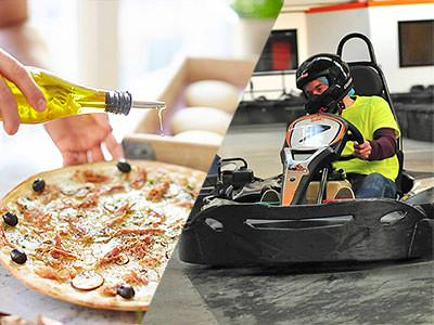 Close up of oil being poured on top of a pizza, and a man driving a kart on an indoor track