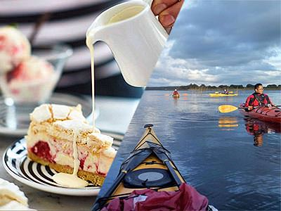 Split image of cream being poured on a slice of cake, and people on kayaks on the river