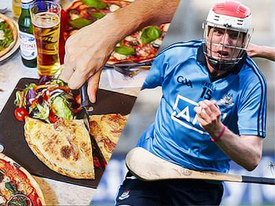 A split image of some pizzas and beers, and a man in a helmet running
