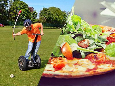 A man hitting a ball with a mallet whilst riding a segway on an outdoor pitch, and a pizza topped with rocket