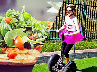 Split image of a pizza topped with rocket, and a close up of a woman riding a segway in a tutu and Bride-to-Be top