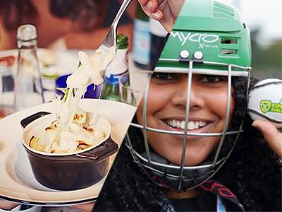 A split image of a fork in a dish and a woman holding a ball whilst wearing a helmet