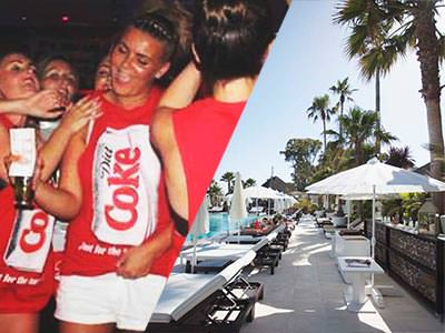 Split image of women wearing red Coca Cola vests and a beach club with white sun beds