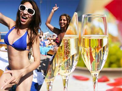 Split image of a woman in a bikini, holding her hand in the air, and two full champagne flutes