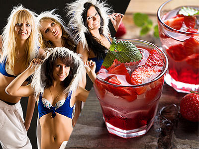 A split image of some women dressed up and some cocktails with strawberries in