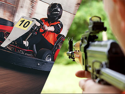 A split image of a go kart racing around a track and a man aiming a gun