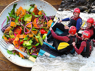 A split image of a salad from a birds eye view and some people white water rafting