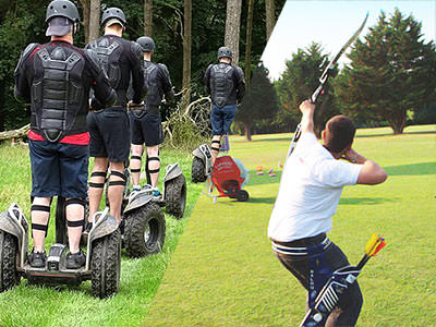 A split image of some men on segways driving into a forest and a man firing an arrow at the sky