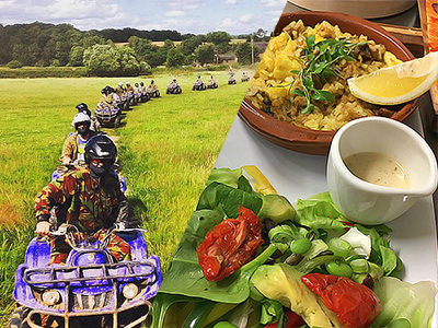 A split image of some people driving quad bikes through a fields and some food