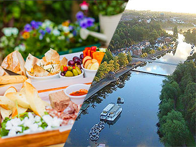 A split image of some nibble food on a tray outdoors and a birds eye view of a picturesque river