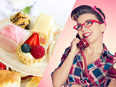A split image of a high tea and a vintage woman on the phone