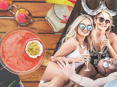 A split image of some punch and sunglasses on a wooden table, and two trendy girls drinking prosecco outside