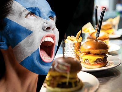 A split image of a woman with her face painted with the Scottish flag and burger meals lined up on a table