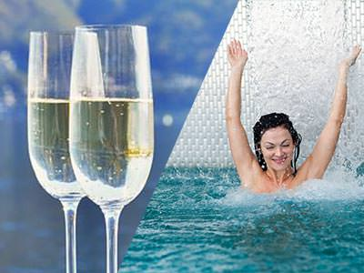 A split image of two glasses of prosecco and a woman jumping into a pool