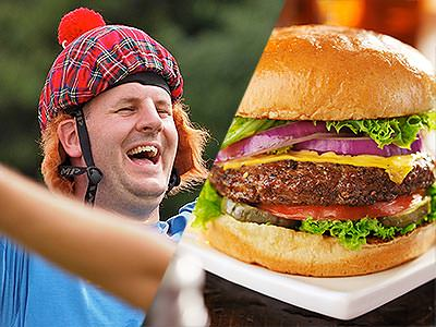 Split image close up of a man in a tartan hat and blue top, and a large burger