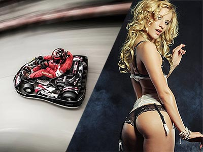 A split image of a go kart whizzing around a track and a woman posing seductively in her underwear