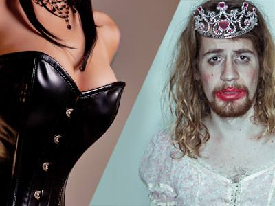 A split image of a woman wearing a leather dress and a man in a wig with lipstick and a crown on, looking sad