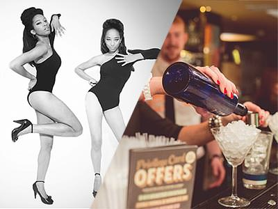A split image of some women dancing in black leotards and a cocktail being poured at the bar