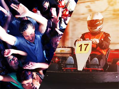 A split image of some people partying in a crowd and a number 17 go kart being driven around a track
