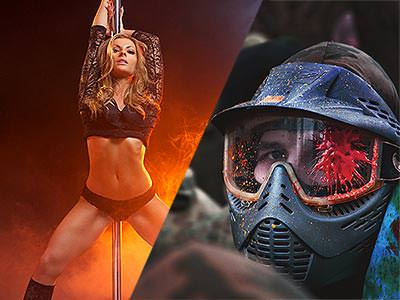 Split image of a woman in black underwear, in front of a pole, and a man in a paintball mask with red paint on