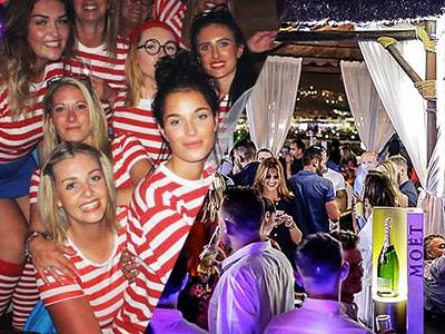 A split image of lots of women dressed as Wheres Wally and some people in a beach club