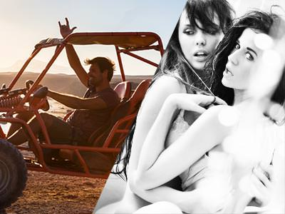 Split image of a man sat in a rage buggy and a black and white image of two semi-naked woman holding each other