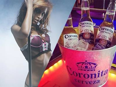 Split image of a woman in pink underwear and holding onto a pole, and three bottles of Corona in an ice bucket