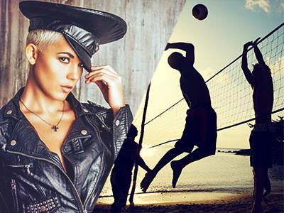 Split image of a woman in a leather jacket and police woman hat, and two male silhouettes playing volleyball on the beach