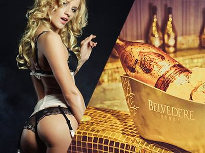 A split image of a woman in her underwear looking at the camera, and a bottle of Belvedere chilling in an ice bucket