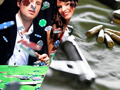 Split image of a man throwing poker chips down on a table whilst sat next to a woman, and a pistol next to bullets