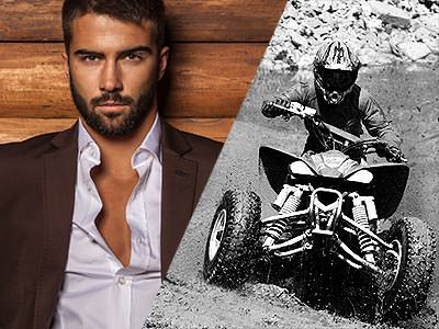 Split image of a man in a brown jacket and white shirt to a wooden backdrop, and a black and white image of someone driving a quad bike through a field