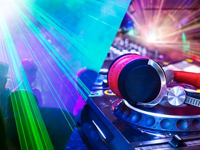 A split image of some laser beams in a club and some headphones resting on some DJ decks