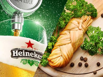 A split image of a pint of Heineken being poured and a baguette on a wooden board with herbs and pepper corns lying around
