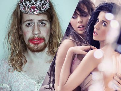 A split image of a man dressed in a wedding dress, with a wig and lipstick on, as well as two lesbians getting intimate with each other