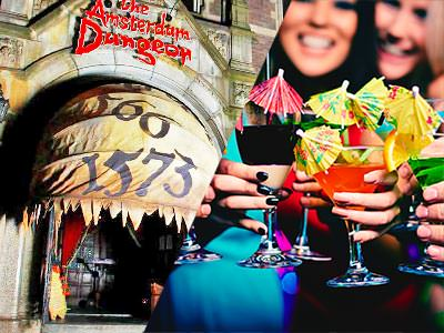 Split image of the Amsterdam Dungeons centre, and women holding drinks in front of them topped with umbrellas