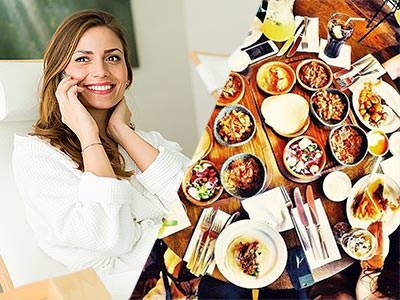 A split image of a woman on the phone and an areal shot of lots of food on a plate