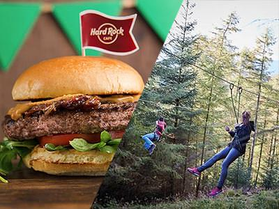 A split image of a burger with a Hard Rock Cafe flag in it, and some people partaking in a high ropes course in the woods